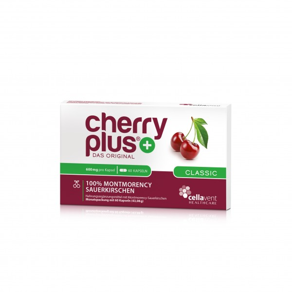 Cherry PLUS - Das Original 1 Monatspackung Montmorency-Sauerkirschen Kapseln 600mg (60 Kapseln)