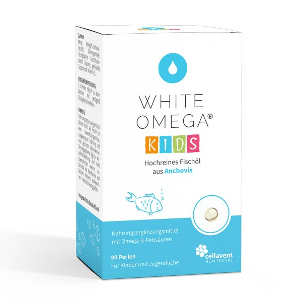 White Omega KIDS Vorderseite - Omega 3 Kapseln für Kinder (60 Stück / 1 Monat) - Premium Omega 3 Fischölkapseln von Cellavent Healthcare