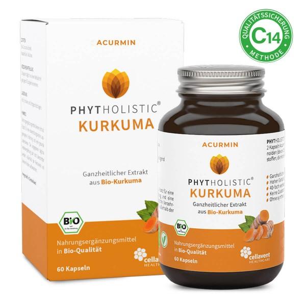 Phytholistic Acurmin - BIO Kurkuma Kapseln (60 Stück / 1 Monat) - Curcuma von Cellavent Healthcare
