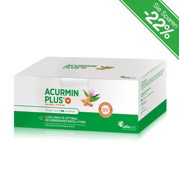 Kurkuma Kapseln - Marke: Acurmin PLUS - Das Mizell-Curcuma - 6 Monatspackung (360 Kurkuma Kapseln)