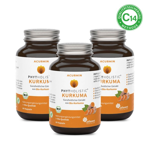 Phytholistic Acurmin - BIO Kurkuma Kapseln (180 Stück / 3 Monate) - Curcuma von Cellavent Healthcare