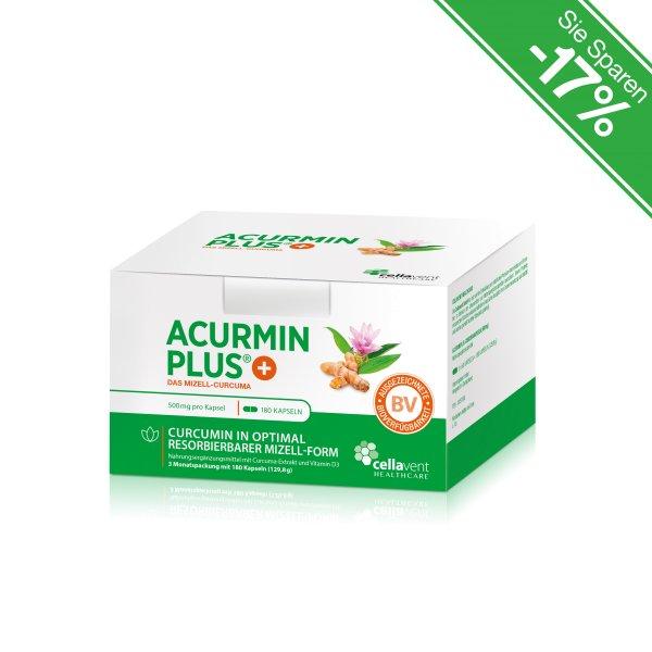 Kurkuma Kapseln - Marke: Acurmin PLUS - Das Mizell-Curcuma - 3 Monatspackung (180 Kurkuma Kapseln)