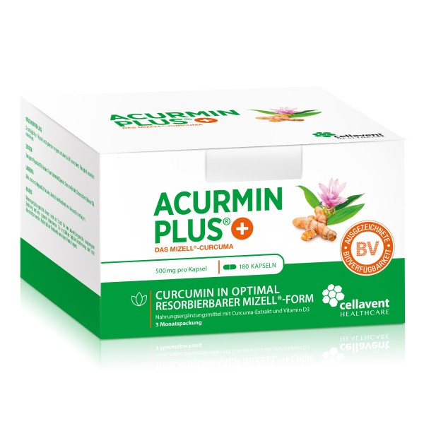 Acurmin PLUS - Mizell Kurkuma Kapseln ohne Piperin (180 Stück / 3 Monate) - Curcuma Kapseln von Cellavent Healthcare