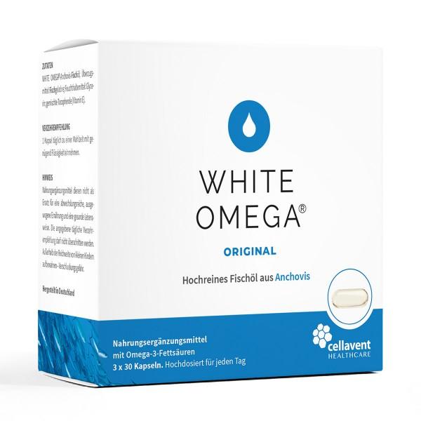 White Omega Original - Omega 3 Kapseln in Premiumqualität Inhaltsstoff und Tagesmenge (90 Stück / 3 Monate) - Omega 3 Fischölkapseln von Cellavent Healthcare