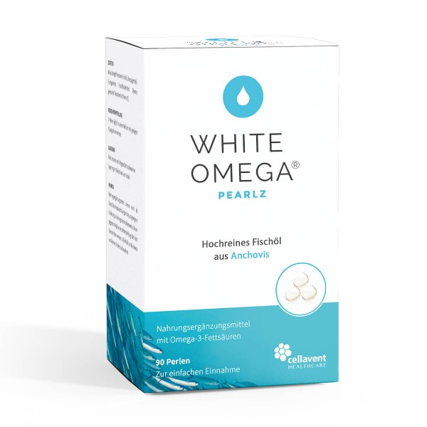 White Omega Pearlz - Omega 3 Kapseln extra klein (90 Stück / 1 Monat) - Omega 3 Fischölkapseln von Cellavent Healthcare