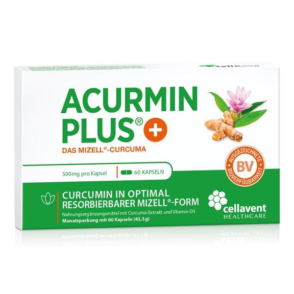 Acurmin PLUS - Mizell Kurkuma Kapseln ohne Piperin (60 Stück / 1 Monat) - Curcuma Kapseln von Cellavent Healthcare