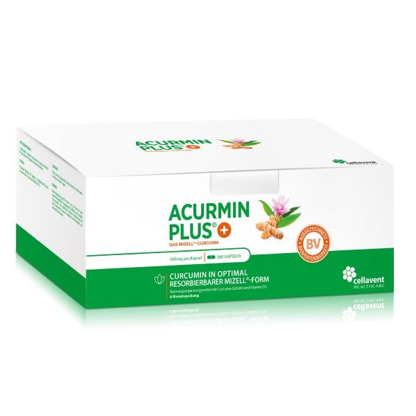 Acurmin PLUS - Mizell Kurkuma Kapseln ohne Piperin (360 Stück / 6 Monate) - Curcuma Kapseln von Cellavent Healthcare