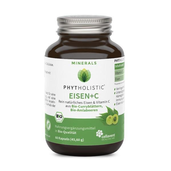 Phytholistic - BIO Eisen plus Vitamin C Kapseln (60 Stück / 2 Monate) von Cellavent Healthcare