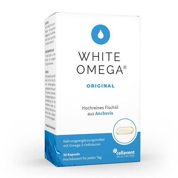 White Omega Original - Omega 3 Kapseln in Premiumqualität (30 Stück / 1 Monat) - Omega 3 Fischölkapseln von Cellavent Healthcare
