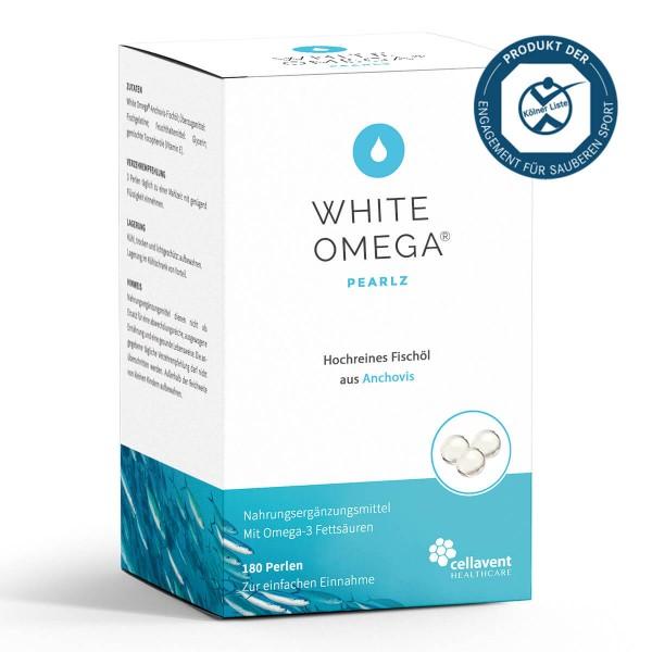 White Omega Pearlz - Omega 3 Kapseln extra klein (180 Stück / 2 Monate) - Omega 3 Fischölkapseln von Cellavent Healthcare